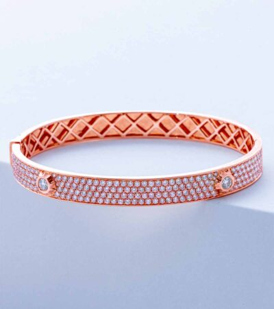pave diamond nailhead bangle in rose gold