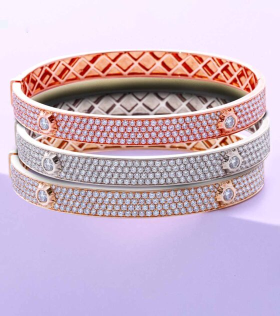 pave diamond nailhead bangle