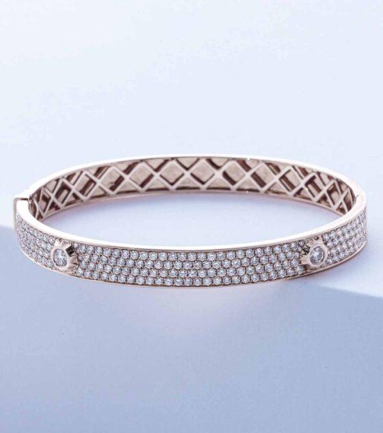 pave diamond bangle in white gold