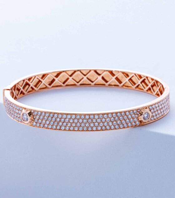 pave diamond nailhead bangle in yellow gold