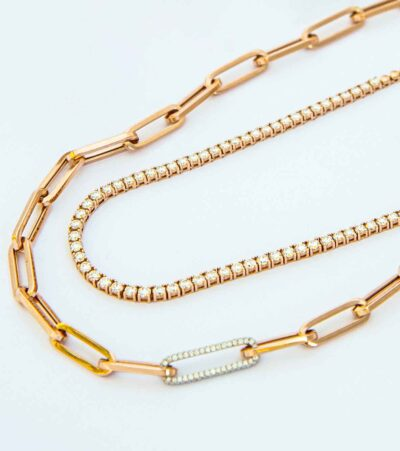 gold & diamond link necklace