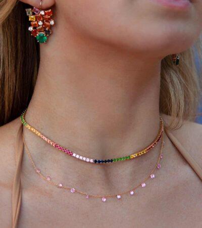 Pink Sapphire Drop Necklace