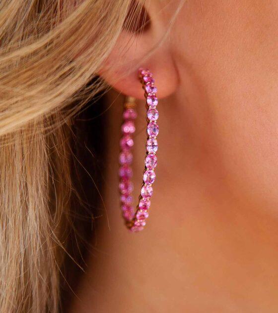 Oval Pink Sapphire Hoop Earrings
