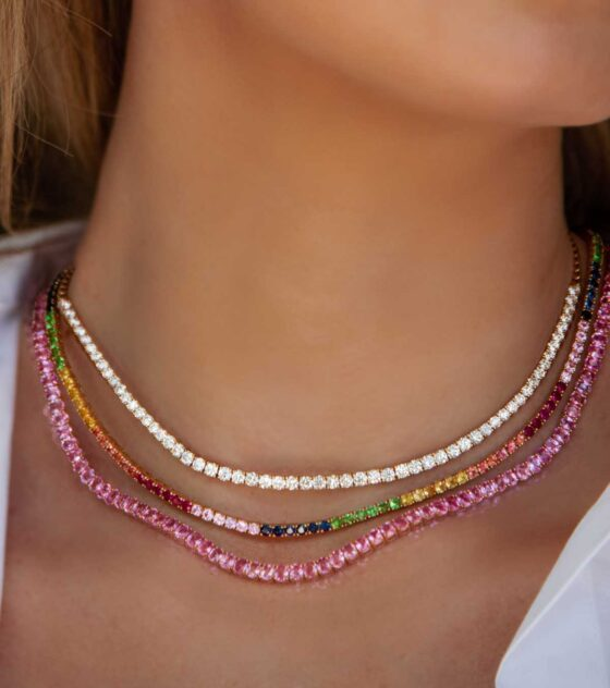 This Pink Sapphire Tennis Necklace