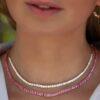 Pink Sapphire Tennis Necklace